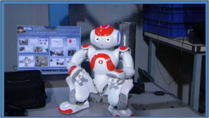 In questa foto si vede il robot umanoide NAO in uno stand espositivo.