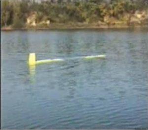 In questa foto si vede SARA durante i test a lago.