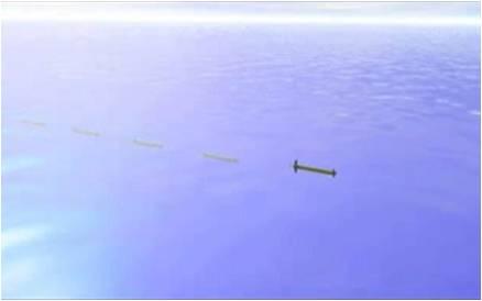 In questa immagine si vede una simulazione di robot sottomarini che navigano in fila indiana.