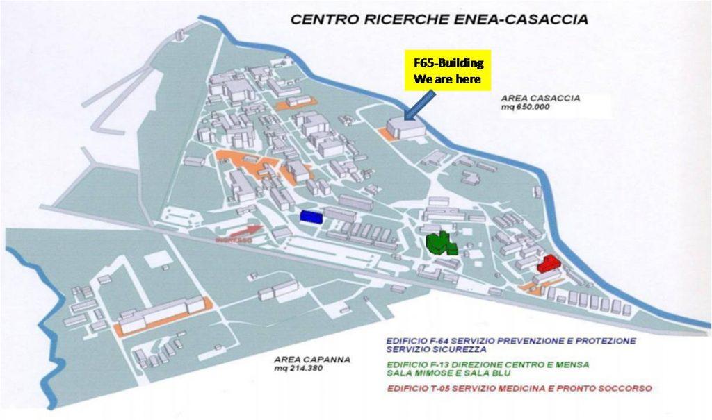 In questa piantina è evidenziata la posizione dell'edificio F-65 nel centro Ricerche della Casaccia. All'interno di tale edificio ci sono i Laboratori di Robotica